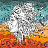 Man in the Native American Indian chief on  ethno pattern, tribal background. Indian feather headdress of eagle.  Hand draw vector Stock Image