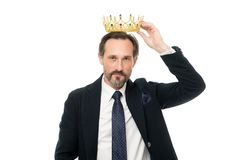Man nature bearded guy in suit hold golden crown symbol of monarchy. Direct line to throne. Enormous privilege. Become. King ceremony. King attribute. Become stock image