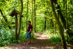 Man in nature forest trail Stock Image