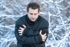 Man in the nature a frosty day. Man in the nature a frosty winter`s day Stock Photography