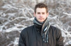 Man in the nature a frosty day. Man in the nature a frosty winters day Stock Photo