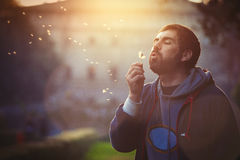 Man in nature. Harmony and romance. Dandelion blowing. Man in nature. Harmony and romance. A bearded man is blowing a dandelion flower in a natural park at royalty free stock photos