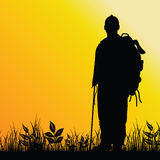Man in nature illustration silhouette Royalty Free Stock Photography