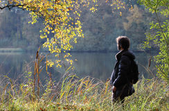 Man in nature, Lower Saxony, Germany Royalty Free Stock Photos