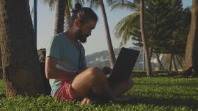 Man in nature park sitting with laptop under a palm tree. Freelancer open laptop and start work in slow motion stock video footage