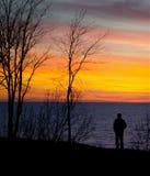 Man and nature sunset Stock Photo