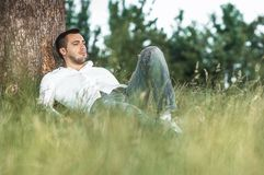 Man in nature Stock Photo