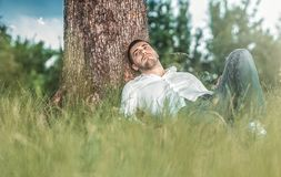 Man in nature Royalty Free Stock Photography