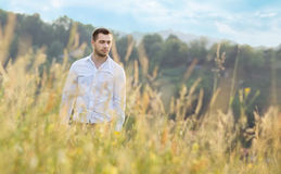 Man in nature Stock Image