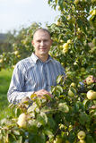 Man near apples trees in garden Stock Photo
