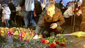 Man near candles, 80th anniversary of Starvation (Holodomor), Kiev, Ukraine, stock video