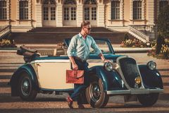 Man near classic convertible Stock Photo