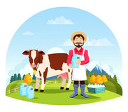 Man near cow with bottles and cans of milk Royalty Free Stock Image