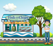 A man near the fish and chips store. Illustration of a man near the fish and chips store Stock Photo