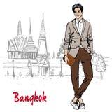 Man near Grand Palace and Wat Prakeaw. Hand-drawn sketch of man near Grand Palace and Wat Prakeaw, Old City of Bangkok, Thailand Royalty Free Stock Photography