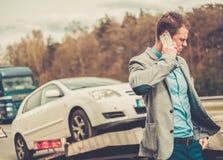Man near his broken car Stock Photo