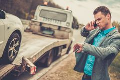 Man near his broken car Royalty Free Stock Images