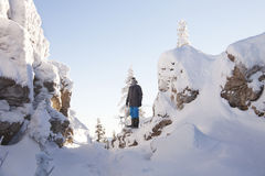 Man near rocks. Snow covered spruces. Mountain Zyuratkul, winter Stock Image