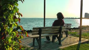 The Man is Near the Seaside. In sunny day stock footage
