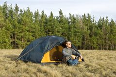 Man  near a tent Stock Images