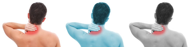 Man with neck pain collage. Young man having pain in his neck Stock Photo