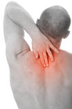 Man with neck pain. Over white background Stock Images