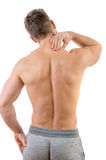 Man with neck pain. Over white background Royalty Free Stock Photography