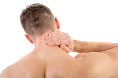 Man with neck pain. Over white background Royalty Free Stock Image