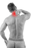 Man with neck pain. Over white background Stock Photo