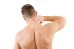 Man with neck pain. Over white background Royalty Free Stock Images
