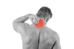 Man with neck pain Stock Image