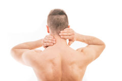 Man with neck pain royalty free stock image