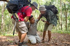Man need help to get up while hiking. Asian men need help to get up while hiking in the forest. tired men supported by friends Royalty Free Stock Photography