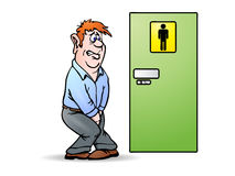 Man need a pee. Conceptual illustration of a man need a pee waiting in front of bathroom sign Stock Photo
