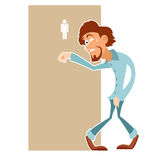 Man really needs to visit the toilet Stock Images