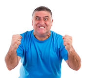 Man with nervous crisis. Isolated on white background Royalty Free Stock Photo