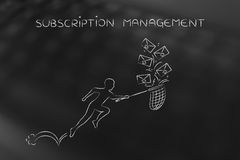Man with net colleting group of emails, subscription management Royalty Free Stock Photos