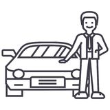 Man with new car,auto dealership,buying a vehicle vector line icon, sign, illustration on background, editable strokes. Man with new car,auto dealership,buying a Stock Photos