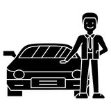 Man with new car - car dealer - auto dealership - buying a car icon, vector illustration, black sign on isolated. Man with new car - car dealer - auto dealership Stock Images