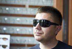 man new sunglasses trying Στοκ Εικόνες