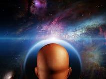 Man before new world. High Resolution 3D Illustration Man before new world Stock Photo