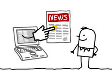 Man with news online. Man with laptop and news online - hand drawn cartoon characters Royalty Free Stock Images