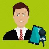 Man news smartphone reportage Stock Photo