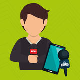 Man news smartphone reportage Royalty Free Stock Photos