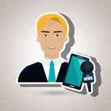 Man news smartphone reportage Royalty Free Stock Photography