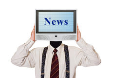 Man with News tv screen for head. Isolated on white background royalty free stock photography