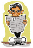Man with newspaper. Illustration of a cartoon man reading newspaper Stock Photos