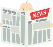 Man with newspaper. The man with the surprised eyes reads the newspaper with heading News Stock Photography