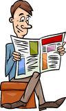 Man with newspaper cartoon illustration Royalty Free Stock Photography