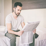 Man with Newspaper Royalty Free Stock Photo